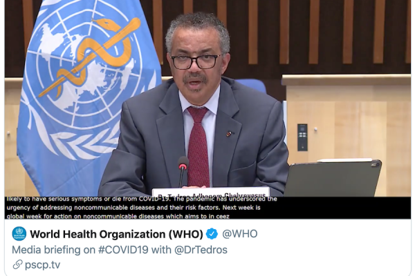 DrTedros references W4A on NCDs in press conference video snapshot