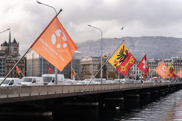 World Cancer Day flags fly on the Mont Blanc Bridge, Geneva on 4th February 2020. Copyright: UICC